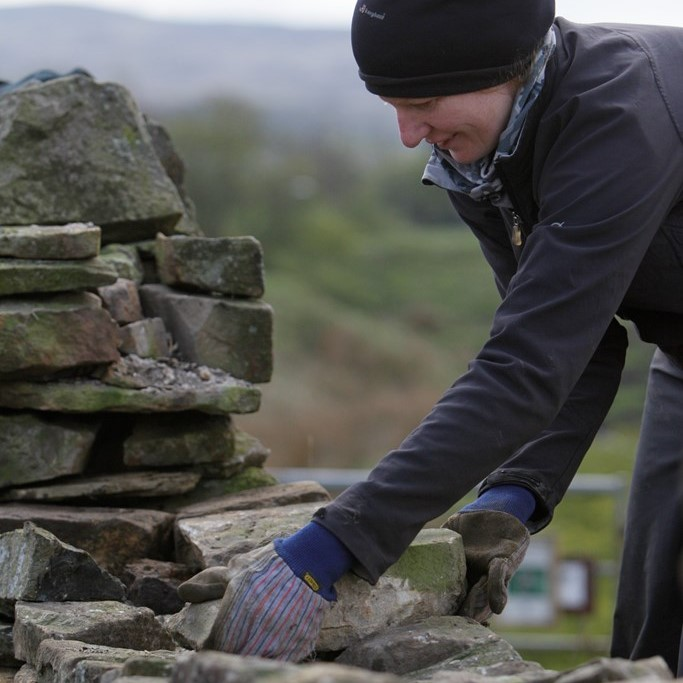 Volunteer Dry Stone Walling   Credit RSPB Images